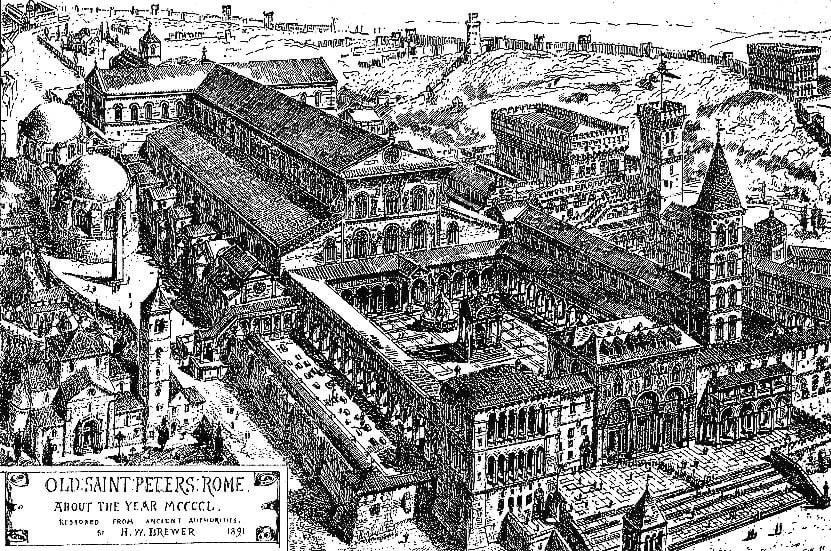 Nessa imagem vemos como era a antiga Basílica de São Pedro